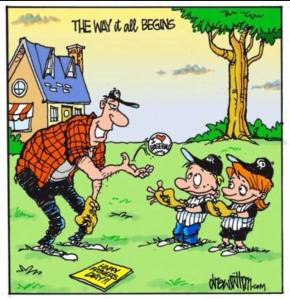 Father's Day Baseball Cartoon